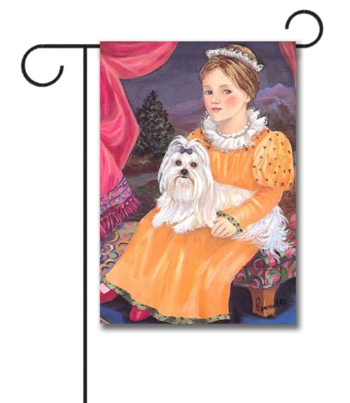Maltese Terrier Folk Art - Garden Flag - 12.5'' x 18''