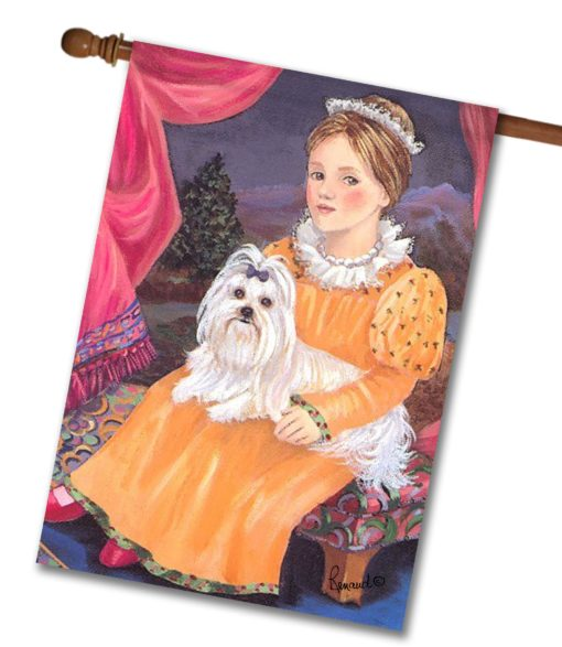 Maltese Terrier Folk Art - House Flag - 28'' x 40''