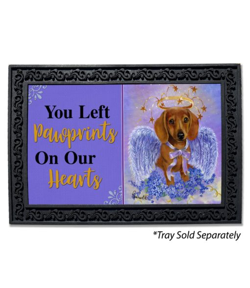 Dachshund Angel Pawprints on Our Hearts Doormat