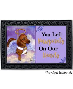 Dachshund Doxie Rescue Angel Pawprints on Our Hearts Doormat