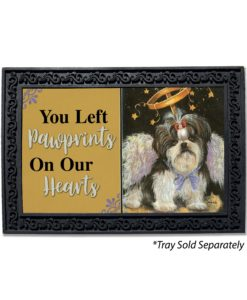 Shih Tzu Angel Pawprints on Our Hearts Doormat
