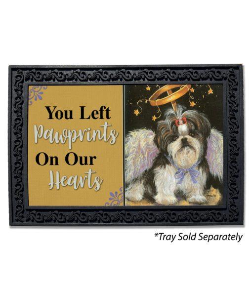 Shih Tzu Angel Pawprints on Our Hearts Doormat