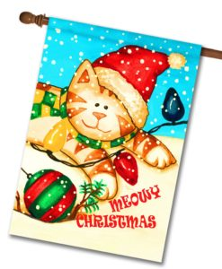 Wish You a Meowy Christmas - House Flag - 28'' x 40''