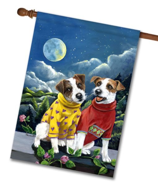 Jack Russell Terrier Moon Phase - House Flag - 28'' x 40''
