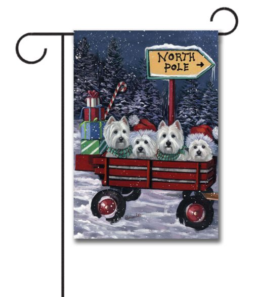 West Highland Terrier Red Wagon - Garden Flag - 12.5'' x 18''