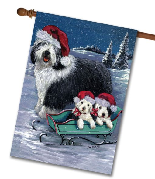 Old English Sheepdog Let It Snow - House Flag - 28'' x 40''