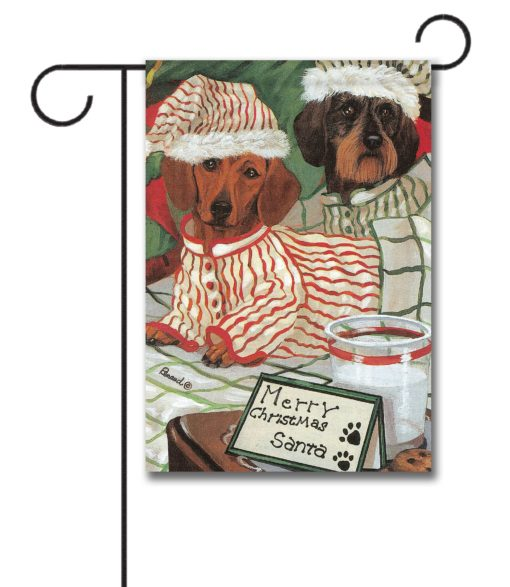 Dachshund Waiting for Santa - Garden Flag - 12.5'' x 18''