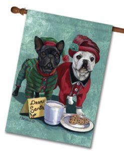 French Bulldog Christmas PJs - House Flag - 28'' x 40''