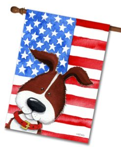 Patriotic Pup - House Flag - 28'' x 40''