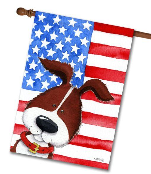 Patriotic Pup - House Flag - 28'' x 40''