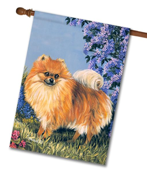 Pomeranian Flower Power - House Flag - 28'' x 40''