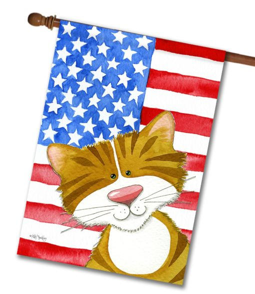 Purrfectly Patriotic - House Flag - 28'' x 40''