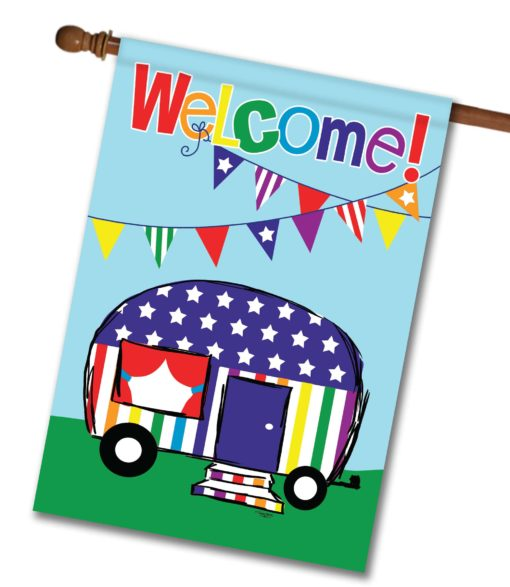 "Camper Welcome Rainbow - House Flag - 28"" x 40"""
