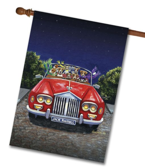 Jack Russell Terrier Evening Cruise - House Flag - 28'' x 40''