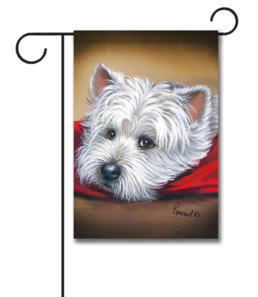 West Highland Terrier Toto on Red Pillow - Garden Flag - 12.5'' x 18''