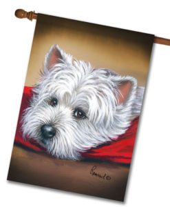 West Highland Terrier Toto on Red Pillow - House Flag - 28'' x 40''