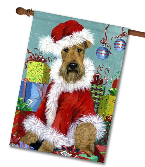 Airedale Terrier Santa - House Flag - 28'' x 40''
