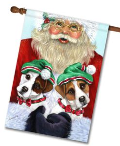 Jack Russell Terrier Santa - House Flag - 28'' x 40''