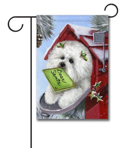 Bichon Frise Letter to Santa - Garden Flag - 12.5'' x 18''