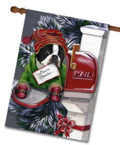 Boston Terrier Dear Santa - House Flag - 28'' x 40''