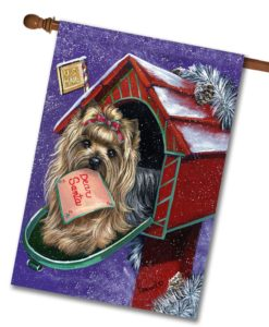 Yorkshire Terrier Dear Santa - House Flag - 28'' x 40''