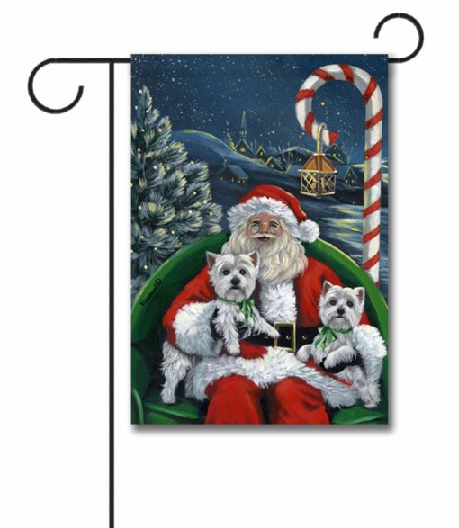 West Highland Terrier Santa's Village - Garden Flag - 12.5'' x 18''