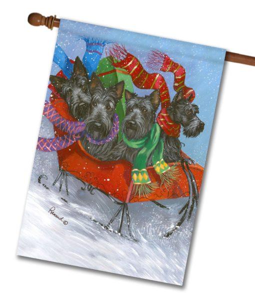 Scottish Terrier Dashing - House Flag - 28'' x 40''