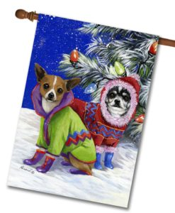 Chihuahua Christmas Snow - House Flag - 28'' x 40''