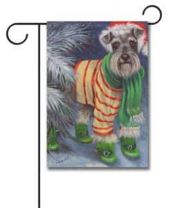 Schnauzer Snow Day - Garden Flag - 12.5'' x 18''