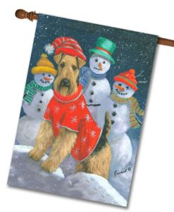 Airedale Terrier Snow Family - House Flag - 28'' x 40''