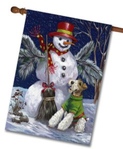 Fox Terrier Winter Fun - House Flag - 28'' x 40''