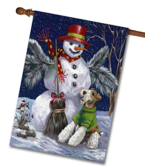 Fox Terrier Winter Fun - House Flag - 28'' x 40''