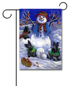 Scottish Terrier Snowman - Garden Flag - 12.5'' x 18''