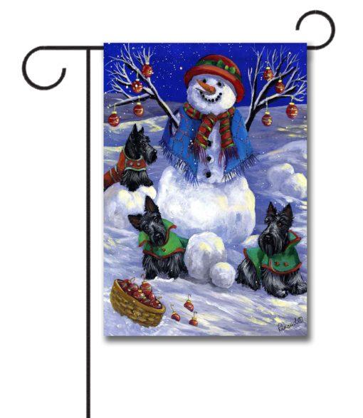 Scottish Terrier Snowman - Garden Flag - 12.5'' x 18''
