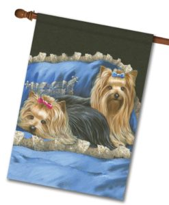 Yorkshire Terrier Satin & Lace - House Flag - 28'' x 40''