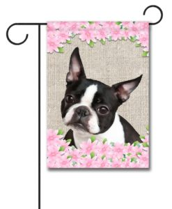 Spring Flowers Boston Terrier - Garden Flag - 12.5'' x 18''