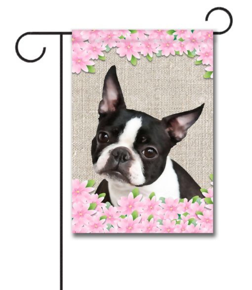 Spring Flowers Boston Terrier - Garden Flag - 12.5'' x 18''
