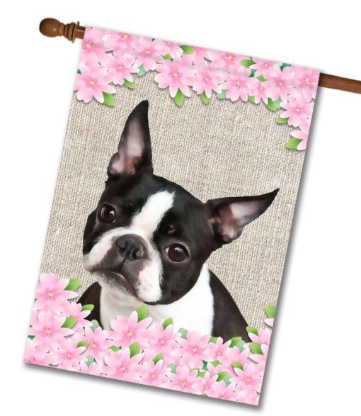 """Spring Flowers Boston Terrier - House Flag - 28"""" x 40"""""""