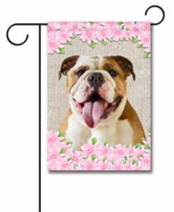 Spring Flowers English Bulldog - Garden Flag - 12.5'' x 18''