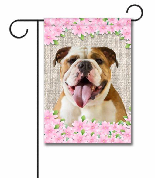 Spring Flowers English Bulldog - Garden Flag - 12.5'' x 18''
