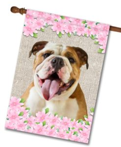 "Spring Flowers English Bulldog - House Flag - 28"" x 40"""