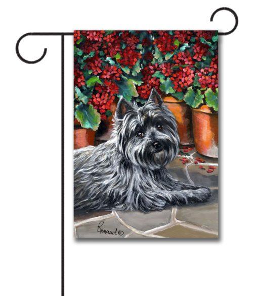 Cairn Terrier Caesar Geraniums - Garden Flag - 12.5'' x 18''