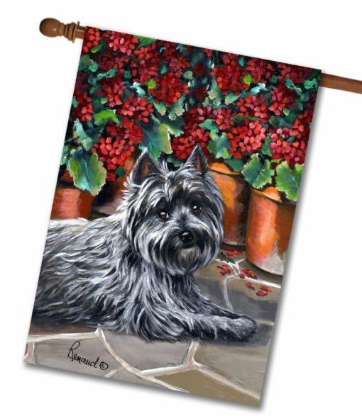 Cairn Terrier Caesar Geraniums - House Flag - 28'' x 40''
