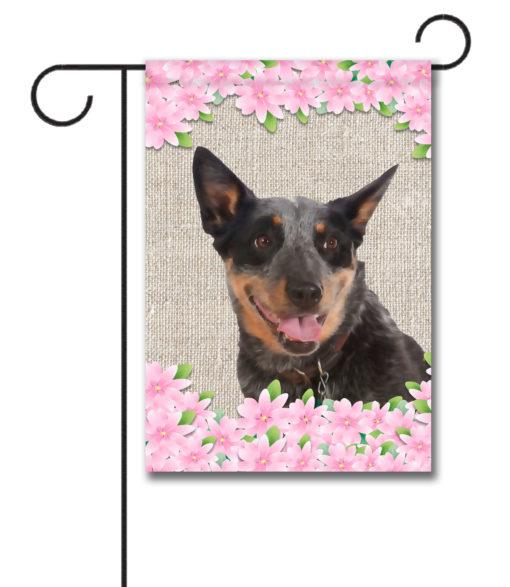 Spring Flowers Australian Cattle Dog - Garden Flag - 12.5'' x 18''