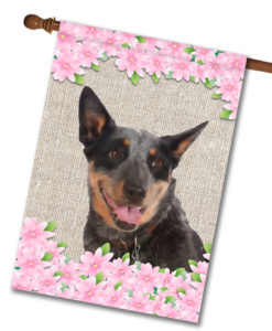 "Spring Flowers Australian Cattle Dog - House Flag - 28"" x 40"""