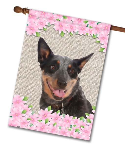 """Spring Flowers Australian Cattle Dog - House Flag - 28"""" x 40"""""""