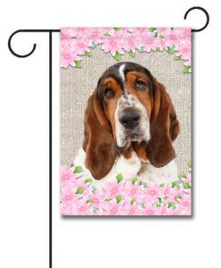 Spring Flowers Basset Hound - Garden Flag - 12.5'' x 18''
