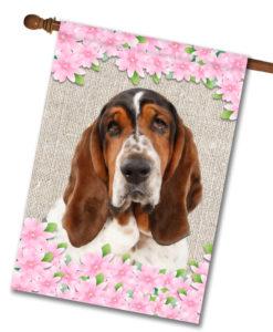 "Spring Flowers Basset Hound - House Flag - 28"" x 40"""