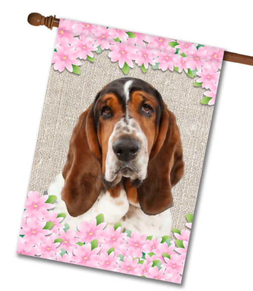 "Spring Flowers Basset Hound - House Flag - 28"" x 40"""