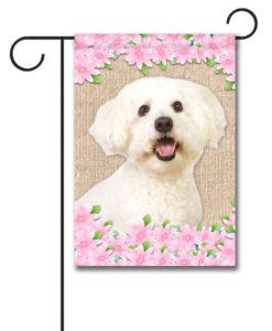 Spring Flowers Bichon Frise - Garden Flag - 12.5'' x 18''